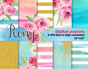 Watercolor Digital Papers, 10 Peony Inspired Digital Watercolor papers, Hand Painted Stripes