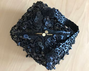 Ernest Beaded Deco Pouch Handbag Flapper Purse Clutch Black