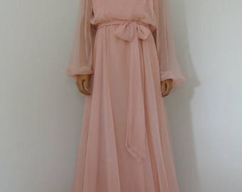 SALE Miss Elliette 1960s Blush Pink Old Hollywood Gown California Glam Chiffon with Embroidered Lace/L