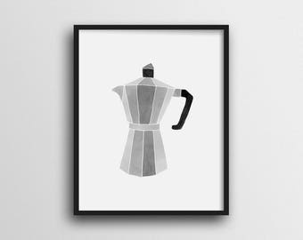 Minimalist Vintage Coffee Maker Wall Art Print Home Decor 11x14 8x10