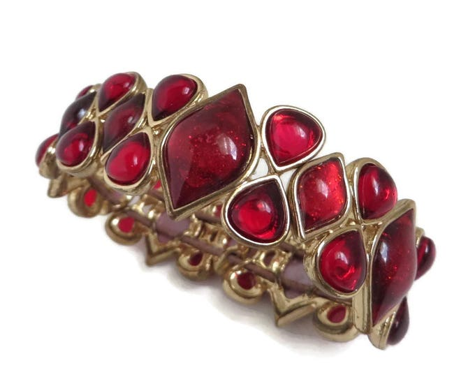 Red Bead Stretch Bracelet, Vintage Frosted Bead Bangle, Iridescent Bracelet, Goldtone Stretch Bangle, FREE SHIPPING