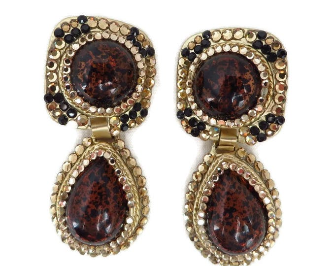 Spattered Brown Earrings, Vintage Chunky Dangles, Gold Tone Clip-on Earrings