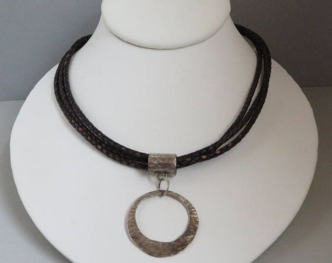 Silpada Sterling Silver and Leather Choker, Vintage Hammered Silver Pendant Necklace