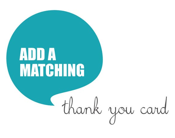 Matching THANK YOU CARD made to match any design from blueBUBBLEstudio - Digital File
