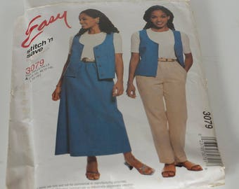 McCall's Easy Stitch n Save Uncut Vest, Pull - On, Pants, and Skirt 3079