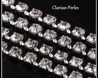 Transparent Crystal, silver plated 2mm x20cm rhinestone chain