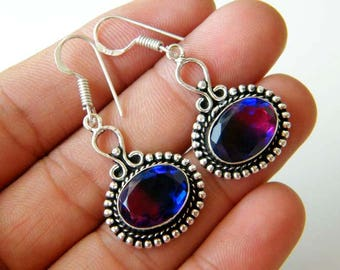 Bicolor Quartz Earring, Silver Plated Earring, Dichloric Earring, Fashion Earring, Brass Earring, Christmas Gift SH-5989