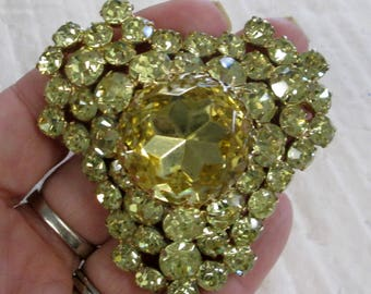 Large Peridot Brooch with pronged stones