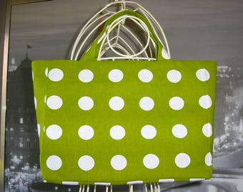 Fancy bag model junior green Tote with white polka dots
