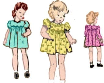 Sewing Pattern Vintage 1940s Baby Girl Dress Mail Order Pattern 2009