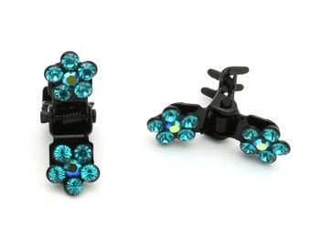 Hand Made Hair Jewelry Flower Mini Jaws swarovski crystal Petals Set of 5 Teal(SO5021-em)