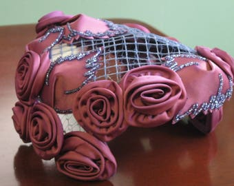 Adorable Purple Satin Roses and Beaded Cloche Hat with Netted Top