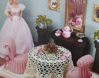 Romantic Dinning Room Volume II Annies Attic crochet pattern for 11.5 inch fashion doll