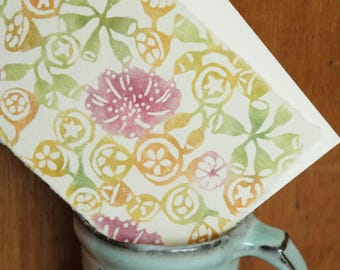 Eucalyptus Blossom & Gumnut Design Postcard - Katazome Hand-dyed Washi