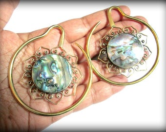 Brass ear weights-tribal ear weights-abalone shell ear weights-stretch earring-earloop weights 1 pair
