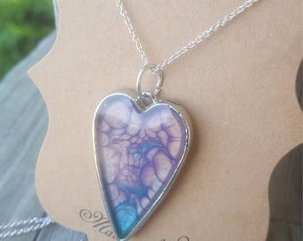 heart bezel setting heart bezels-silver heart charms-blue hearts-purple hearts-silver hearts-painted charms Mother's Day gift for mom