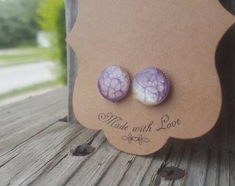 Purple stud earrings purple earrings stud earrings purple jewelry earrings posts nickle free jewelry  bezel charms bezel earrings bezels