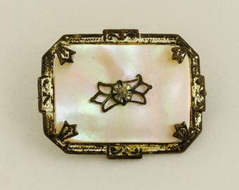 Antique 1930s Mother of Pearl and Rhinestone Brooch Pin Beautiful