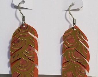 Medium feather drop earrings (Autumn fire)