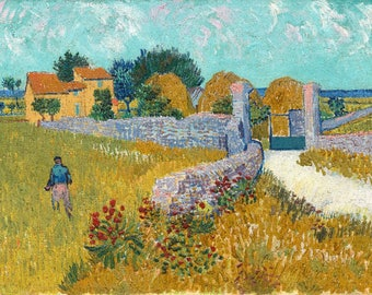 Farmhouse in Provence (Artist: Vincent van Gogh) c. 1888 - Masterpiece Classic (Art Print - Multiple Sizes Available)