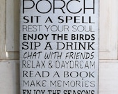 Porch Rules sign Distressed Rustic Primitive Typography subway sign 12x24