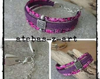 MULTISTRAND bracelet made of suede and liberty fabric in shades of purple