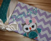 Owl- Personalized Minky Baby Blanket with Embroidered Owl- Chevron & Minky