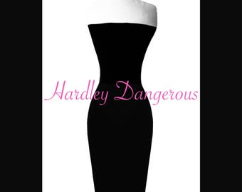Strapless CHERRYBOMB Pencil Dress with Straight Cut Neckline, MISSES Knee Length 38""
