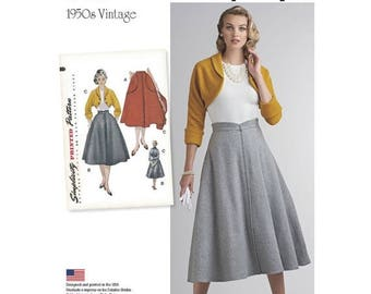 8250, Simplicity, Misses Vintage 1950's Dress, Flared Skirt, Bolero, Shrug, Vintage Style, Retro Style, four-gored, Skirt with Pockets, 50's