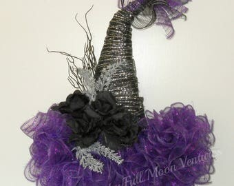 Purple silver and black hat everyday wreath holiday wreath wiches hat purple silver and black hat door hanger black roses door wreath purple