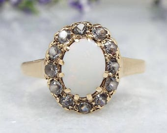 Vintage / 1970 9ct Yellow Gold Opal and White Spinel Cluster Ring / Size M 1/2