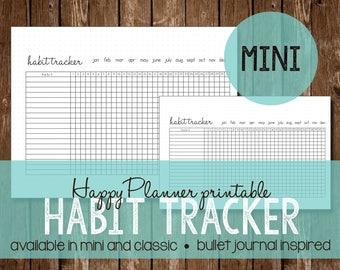Habit Tracker | Happy Planner MAMBI 365 | Bullet Journal Inspired | Printable | Instant Download | Mini Size