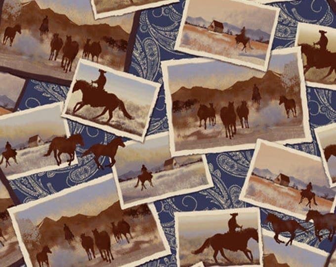 RANCH HANDS - Post Cards in Blue and Brown - Adorable Cowboy Cotton Quilt Fabric - Whistler Studios for Windham Fabrics - 42579-1 (W3978)