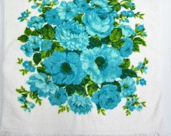 Vintage Blue Flowered Bath Towel