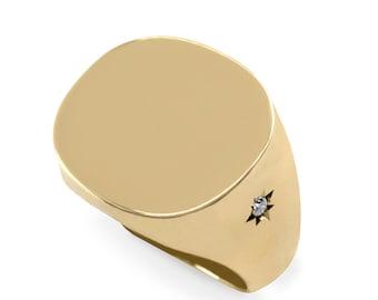 Gold Ring, Signet Ring, Gold Diamond Ring, Engraved Ring, 14K, Solid Gold Ring, Gold Signet, engraved gold ring, Monogram Gold Ring, Diamond