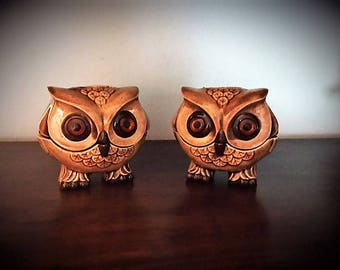Vintage Ceramic Owl Candle Holders
