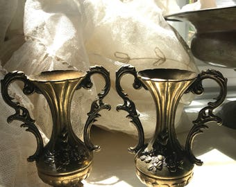 Set of 2 Vintage Home Decor Brass Vases from Italy