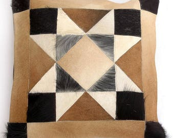 Natural Cowhide Luxurious Patchwork Hairon Cushion/pillow Cover (15''x 15'')a139