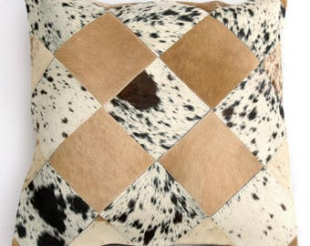 Natural Cowhide Luxurious Patchwork Hairon Cushion/pillow Cover (15''x 15'')a160