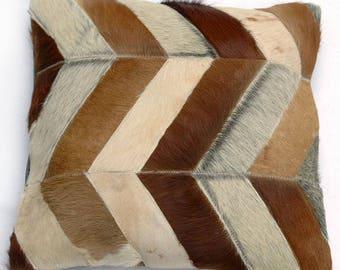 Natural Cowhide Luxurious Patchwork Hairon Cushion/pillow Cover (15''x 15'')a229