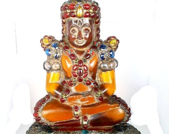 Antique Amber 19th - 20th Century Carved Phra Hin Buddha Statue 15,000grams