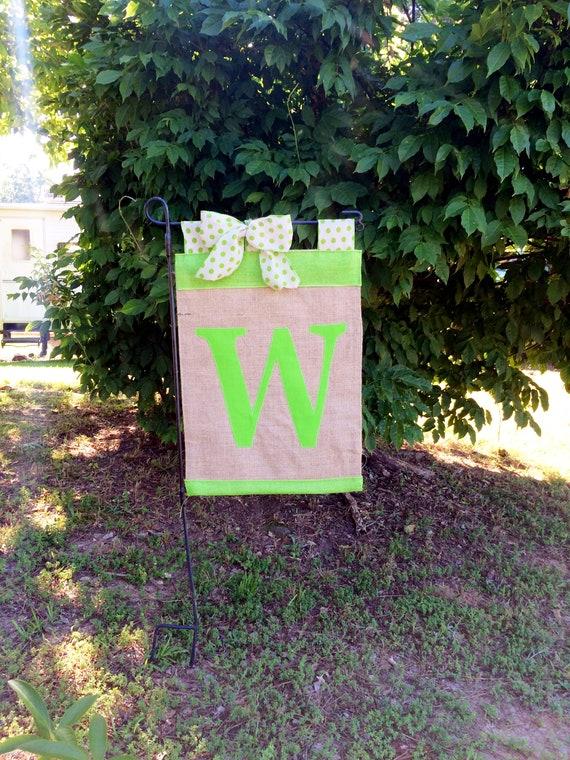 Initial Garden Flag,Red Initial Flag, Lime Green Garden Flag, Burlap ...