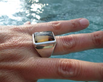 Vintage Scenic Agate and Sterling Silver Ring Size 13