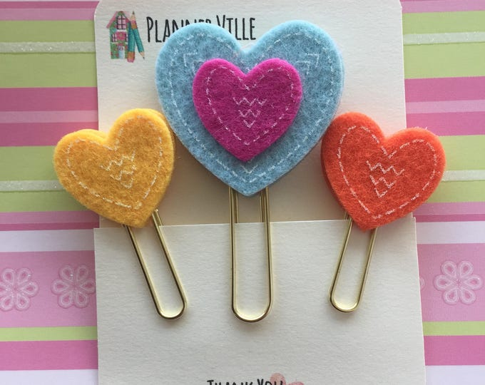 Three Jumbo Gold Planner Clips. Gold Book Markers. Felt Planner Clips. Heart Book Marks