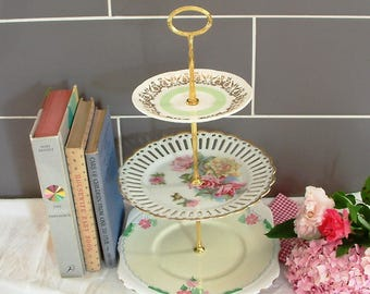 Beautiful Vintage Plates Cake Stand - 3 Tier - With Contrasting green, gold & pink floral and patterned plates and Gold Stem - H02