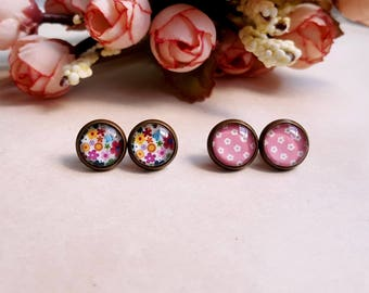 Floral print Stud earrings Cabochon earrings Set of 2 pairs Gift under 10 Pink earrings Cottage chic