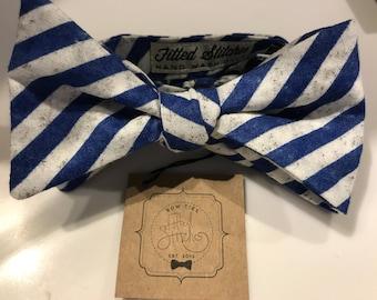 Navy Bold Stripe Bow Tie