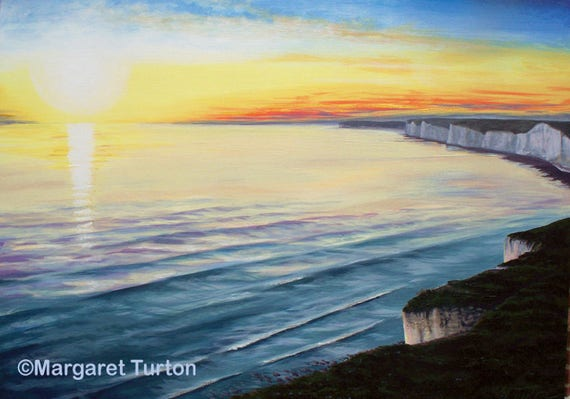Sunset over Seven Sisters, acrylic painting on canvas