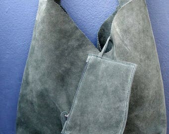 Suede leather shoulder bag in khaki