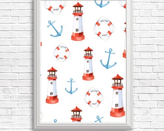 Instant download printable, Watercolor nautical items, anchor, lighthouse, float ring, bathroom decor, fisherman gift, boat theme, Wall art